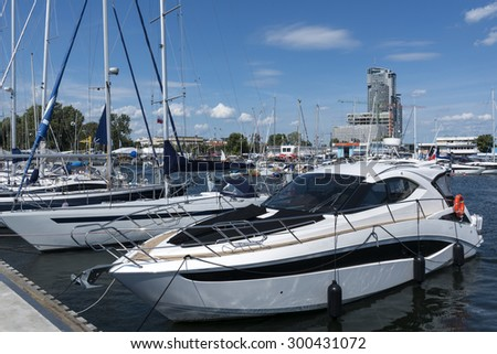 Yacht boats in marina of Gdynia - a popular holiday destination for Poles in summer. - stock photo