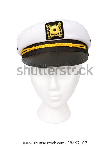 Yacht captain hat isolated on white. Resting on a model head for proper perspective. Contains a clipping path for easy extraction.
