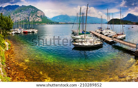 Yacht Club in the town of Limonta in Lake Lecco. Alps, Italy. - stock photo