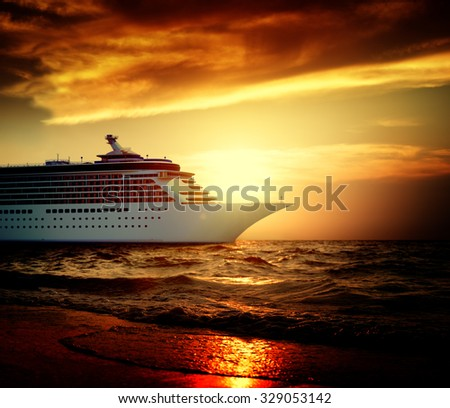 Yacht Cruise Ship Sea Ocean Tropical Scenic Concept - stock photo
