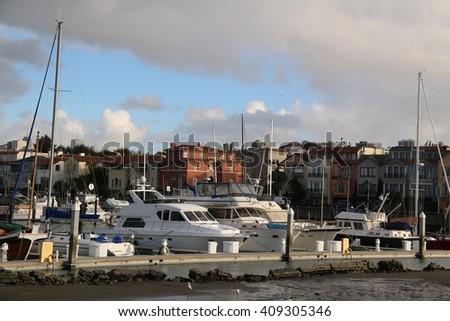 Yacht Harbor in San Francisco Bay Area  - stock photo