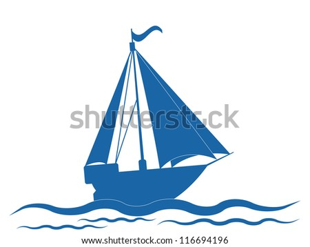 Yacht image. Raster version of vector illustration.