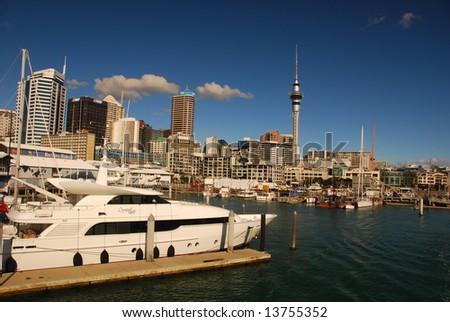 yacht in Auckland harbor, New Zealand - stock photo