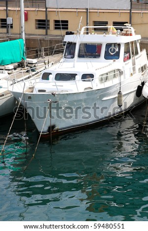 Yacht in Barcelona port - stock photo