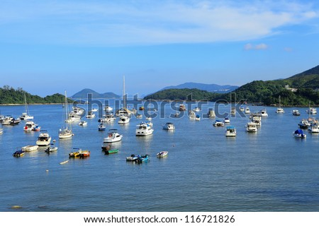 yacht in bay - stock photo
