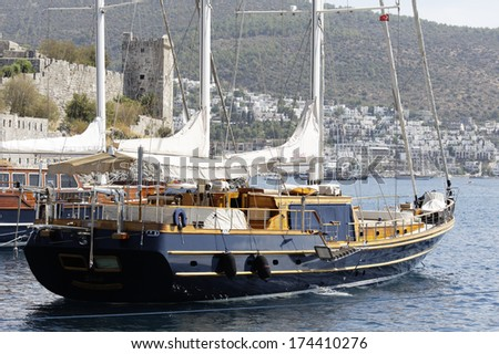 Yacht in Bodrum, Turkey - stock photo