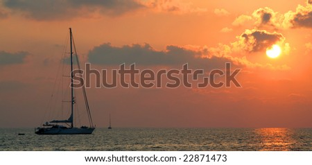 Yacht in Sunset - Mediterranean Sea - Italy