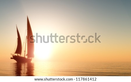Yacht in the sea at sunset - stock photo