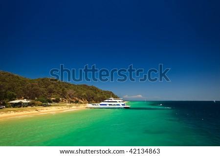 Yacht moored at Moreton Island, Australia - stock photo