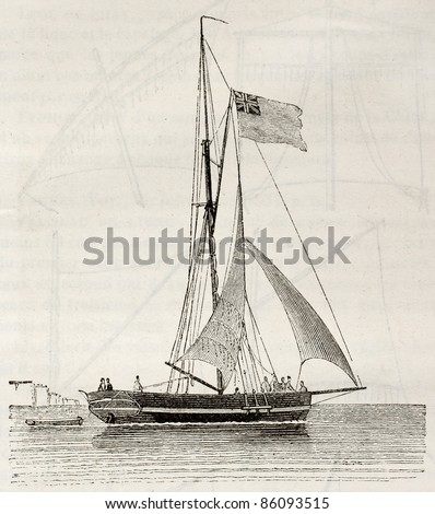 Yacht old illustration. By unidentified author, published on Magasin Pittoresque, Paris, 1842 - stock photo