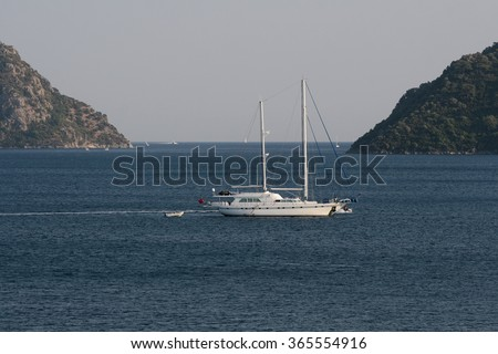 Yacht on anchor in the Aegean Sea in a bay of Marmaris - stock photo