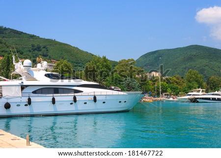 Yacht on the coast of Budva in Montenegro - stock photo