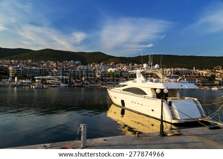 Yacht on the port - stock photo