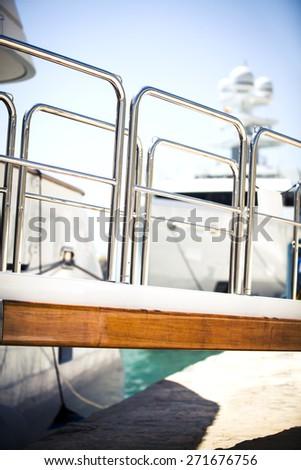 Yacht ramp detail at harbor. - stock photo