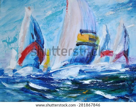 Yacht Regatta, sailing away. Oil on canvas - stock photo