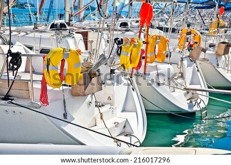 Yacht , Sailboat in Nydri in Greece. Yachting concept.  - stock photo