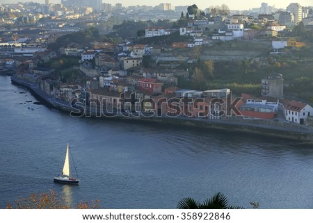 Yacht sailing Douro river in Porto, Portugal