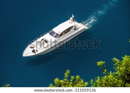 Yacht sailing in Mediterranean Sea near French Riviera and Monaco - stock photo