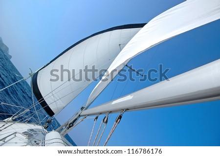 Yacht sailing in the Mediterranean, diagonal view - stock photo