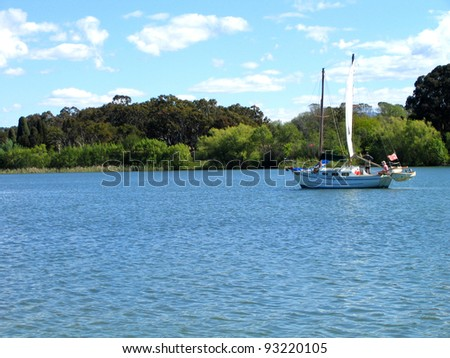 Yacht sailing on Lake Burleigh Griffin, Canberra, Australia - stock photo