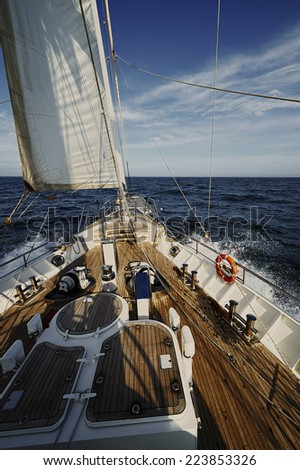 Yacht Sailing. Sailboat. Yachting. Sailing. Travel Concept. - stock photo