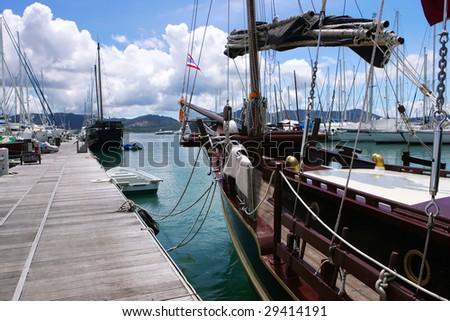 yacht summer dock - stock photo