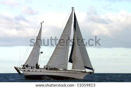Yacht under sail in the ocean