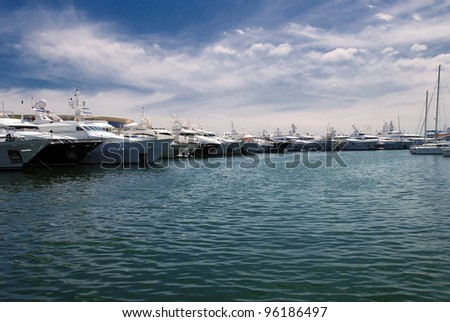 Yachts and boats in marina of Cannes, France - stock photo