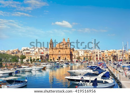 Yachts and Church of St Joseph at Msida, Malta - stock photo