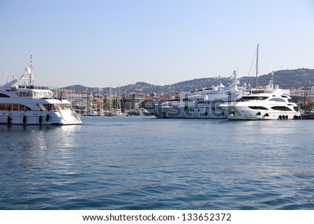 Yachts at Cannes port, French riviera, France - stock photo