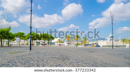 Yachts at the Port of Barcelona Harbor, Spain - stock photo