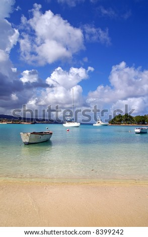 yachts docked at a  tropical harbor - stock photo