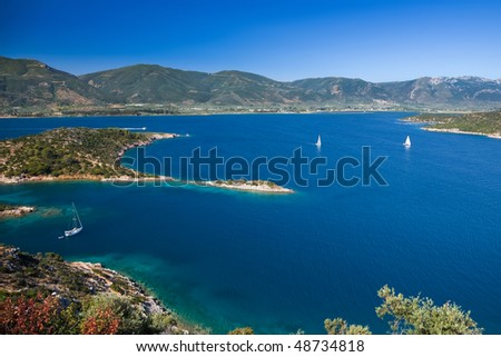 Yachts in Aegean sea near Poros, Greece