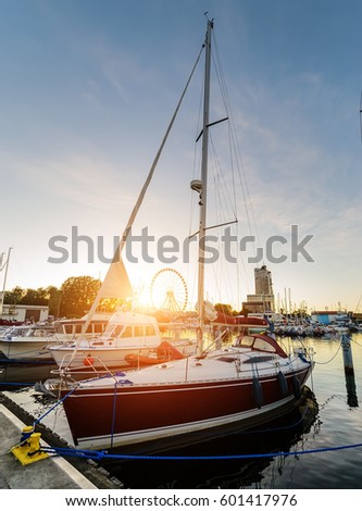 Yachts in Gdynia during sunset. Poland, Europe.