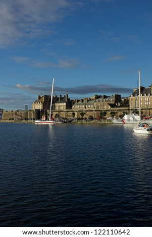 yachts in harbor of Saint Malo, France, old town - stock photo