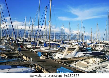 Yachts in Larnaca port, Cyprus. - stock photo