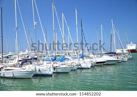 Yachts in marina in Livorno, Italy - stock photo