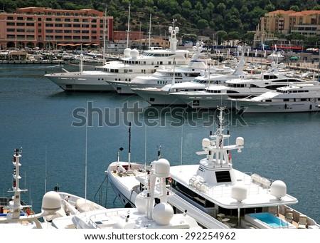 Yachts in the bay of Monaco - stock photo
