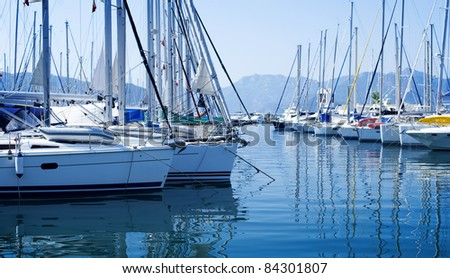 Yachts in the harbor - stock photo