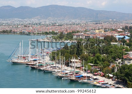 Yachts in the Port of Fethiye - stock photo