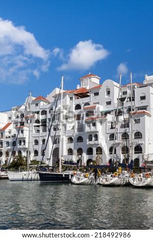 Yachts  moored at Gibraltar marina; - stock photo