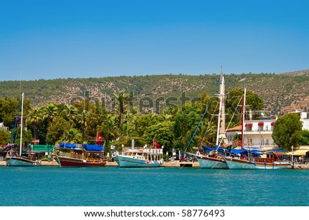 yachts near the coastline in Bodrum, Turkey - stock photo