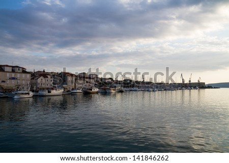 Yachts on the Adriatic Sea, Trogir, Croatia - stock photo
