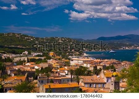 Yachts on the coast of Saint Tropez, France - stock photo