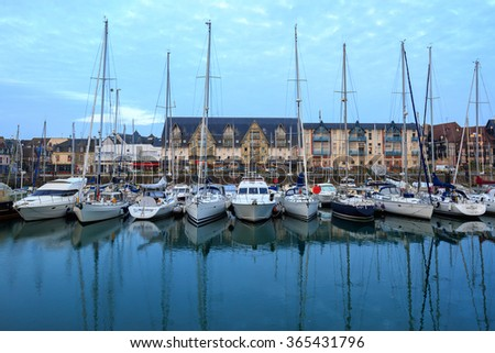 yachts on the dock in Deauville, Normandy, France - stock photo