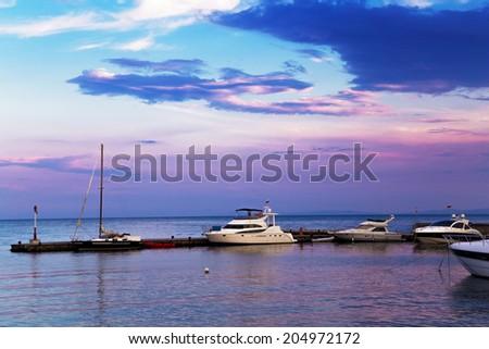 Yachts on the marina - stock photo