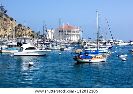 Yachts & sailboats moored at Avalon Harbor on Santa Catalina Island. Off the coast of Southern California - stock photo