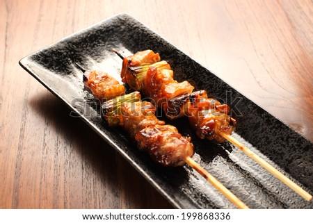 yakitori japanese grilled chiken negima - stock photo