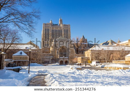 Yale university buildings in winter after snow storm Linus in New Haven, CT USA