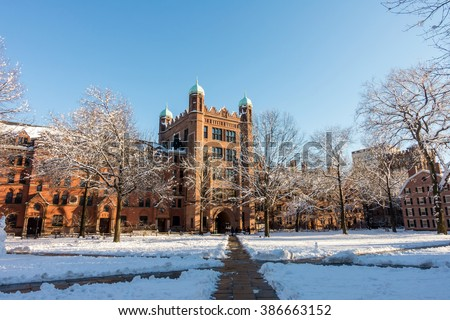 Yale university buildings in winter in New Haven, CT USA - stock photo